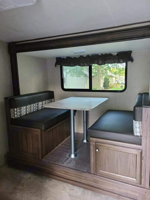 Table area can convert into a nice sized full bed in less than one minute.. Coachmen Apex 2019