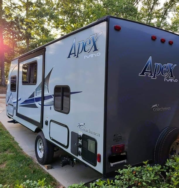 City water hook ups, electrical connection and outdoor shower!. Coachmen Apex 2019