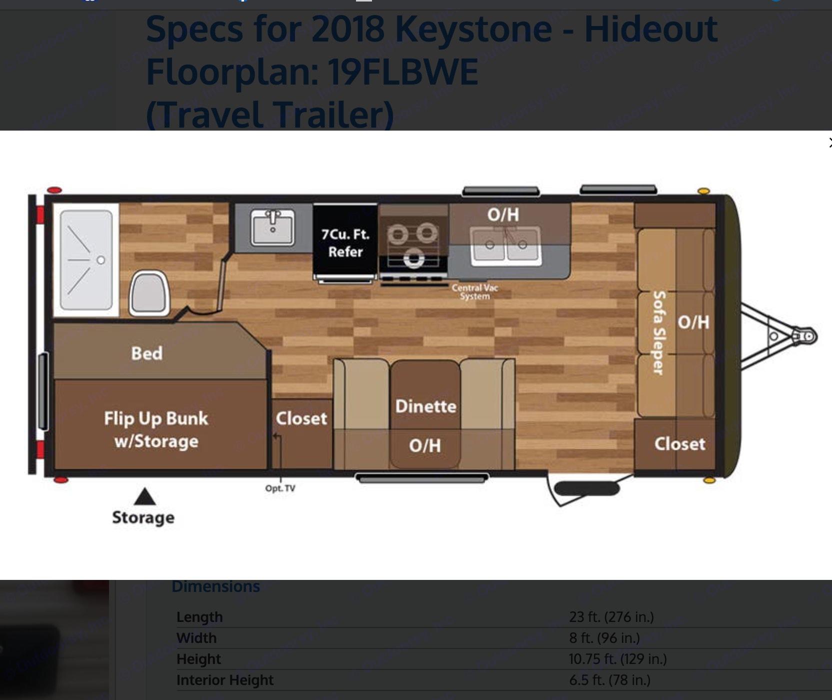 Floor Plan. Keystone Hideout 2018
