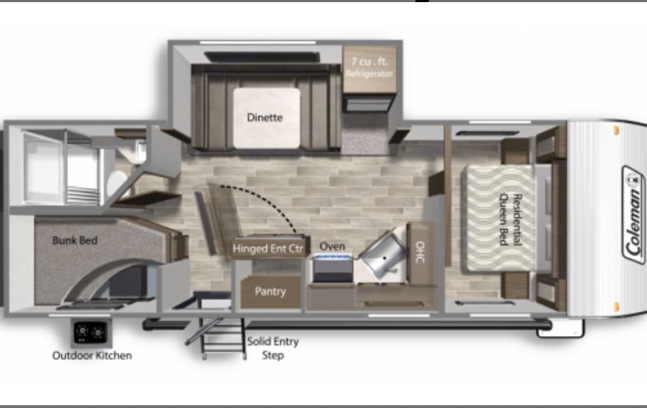 As you see there a lot of space not only for sleeping, but for cooking & eating, relaxing & communicating. Quite big bathroom area.. Coleman Other 2021