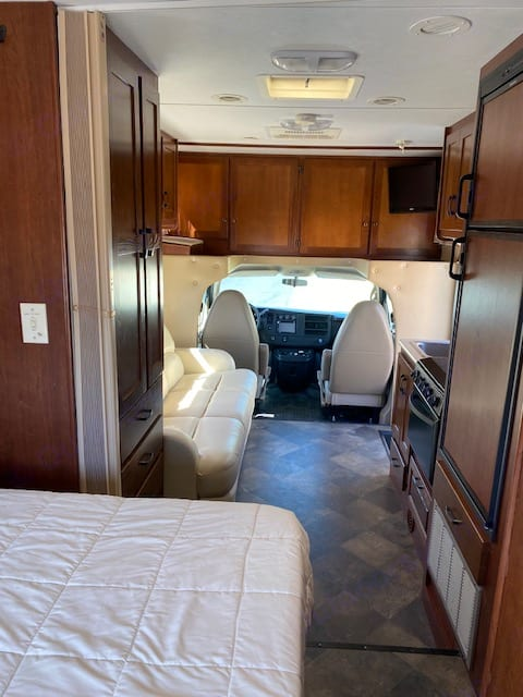 very comfy, and LOTS of storage, quality leather seating. Forest River forester 2013