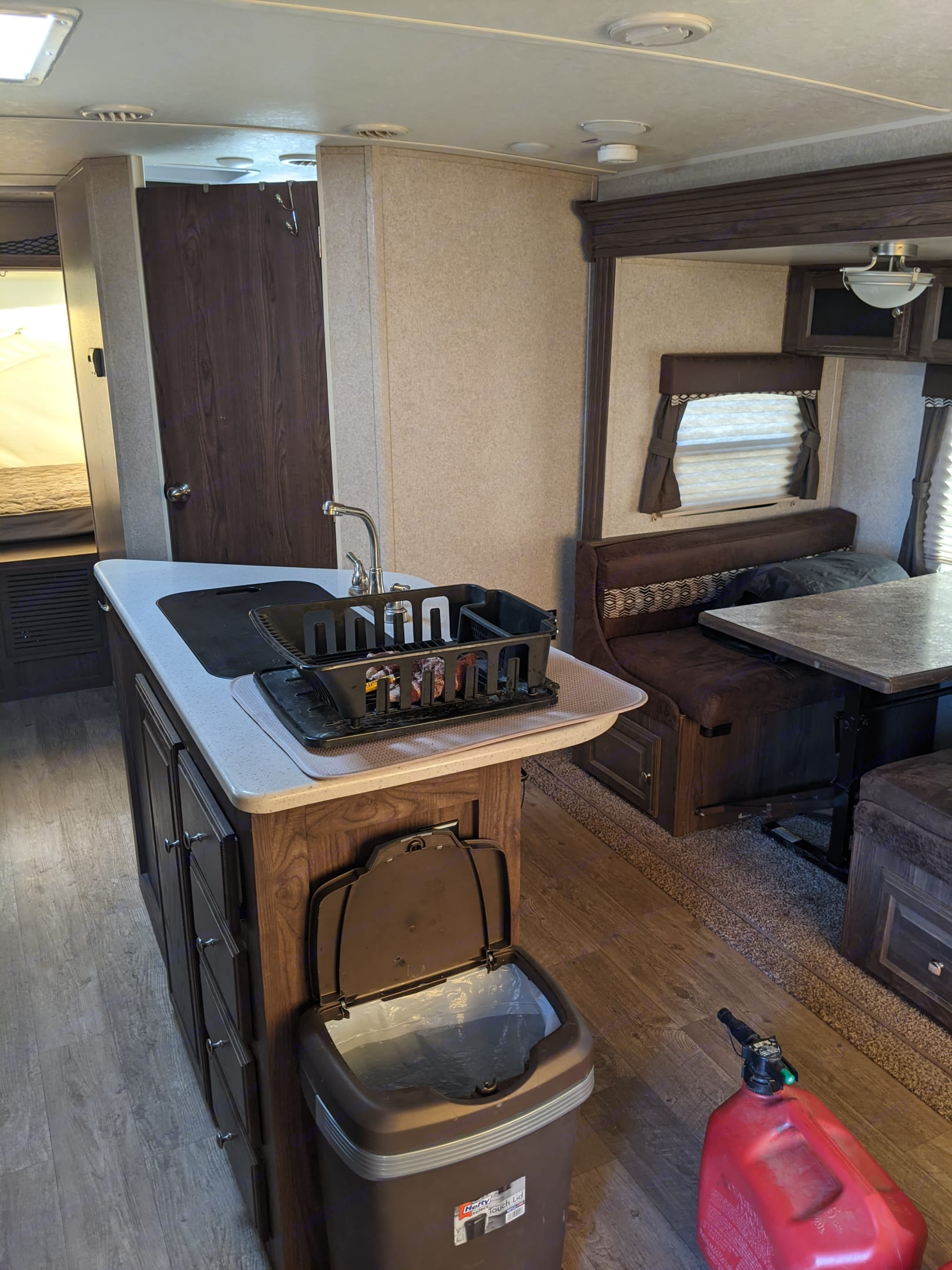 Kitchen island provides much needed prep space. Forest River Rockwood 2019