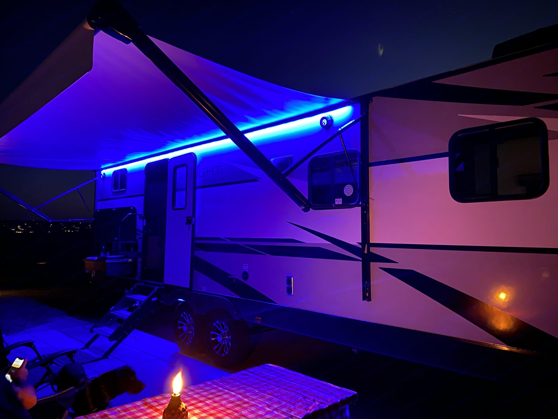 LED lighting under awning and underneath trailer. Cruiser Rv Corp Twilight 2021