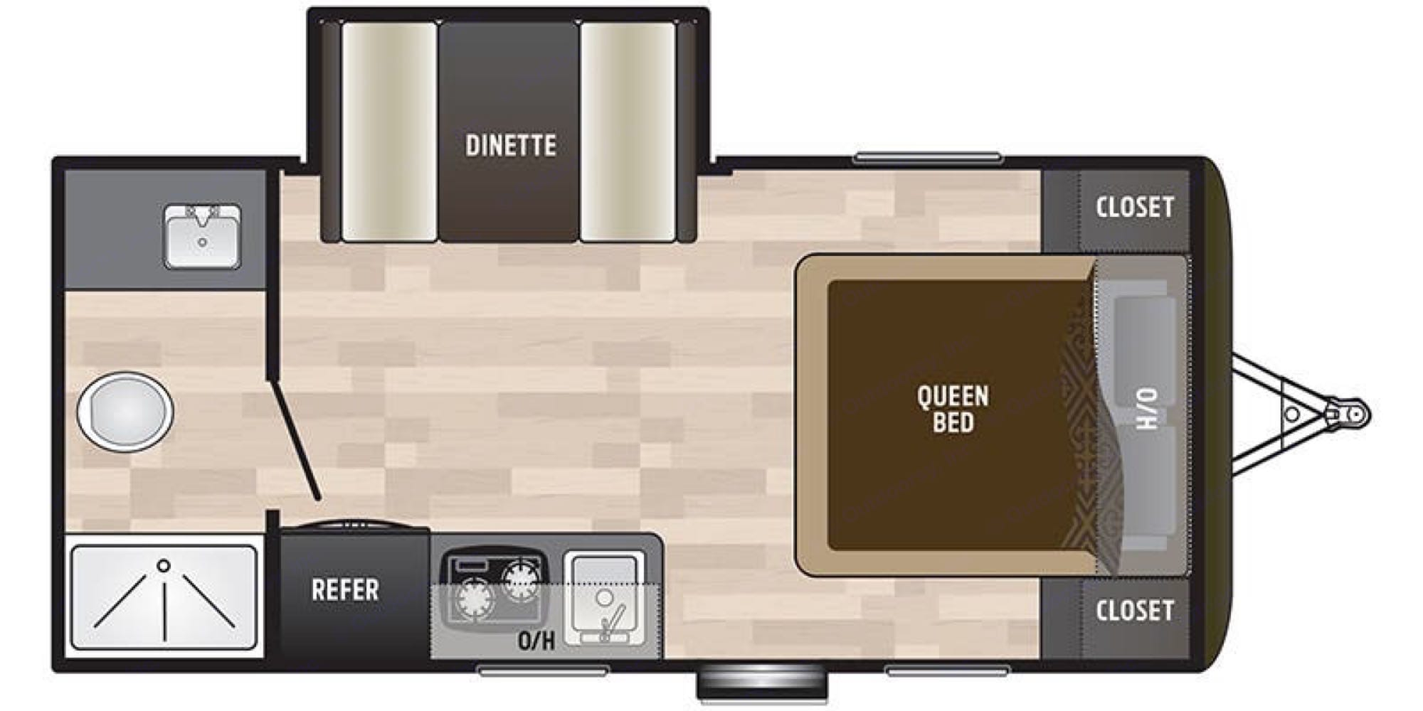 Cozy but functional.  Slide Out creates more space in the kitchen/Dinette area.. Keystone Hideout 179LHS 2021