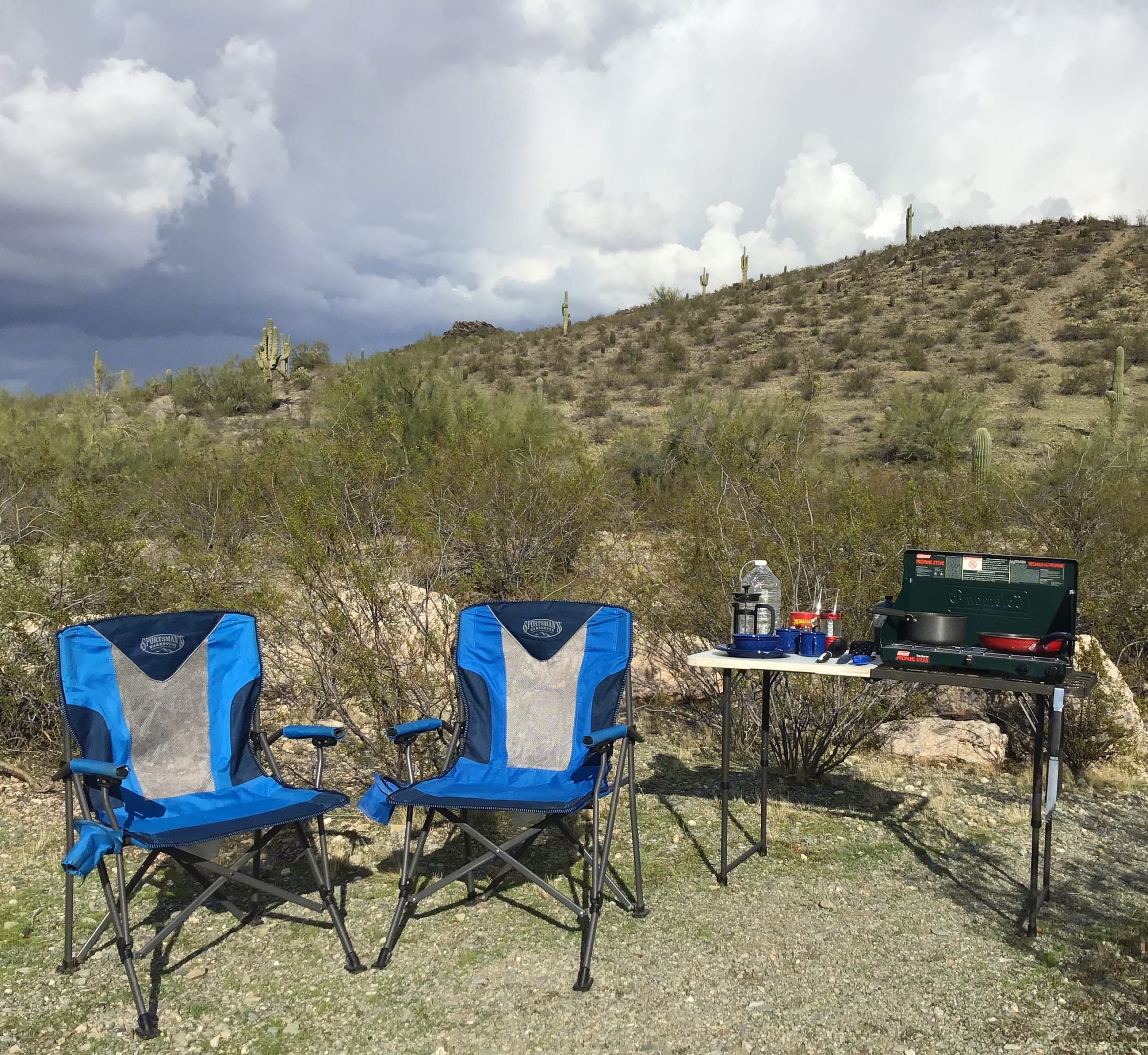 Camp chairs and table included in the gear. Ford Campervan Expedition Adventure 4x4 Camper Van Conversion 2005