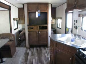 View facing bedroom, yes tv is included. Jayco Jay Flight 2017