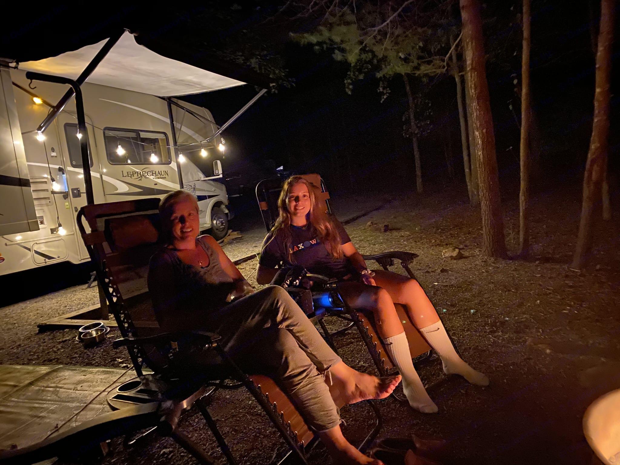 Relaxing by the campfire. Coachmen Leprechaun 2014