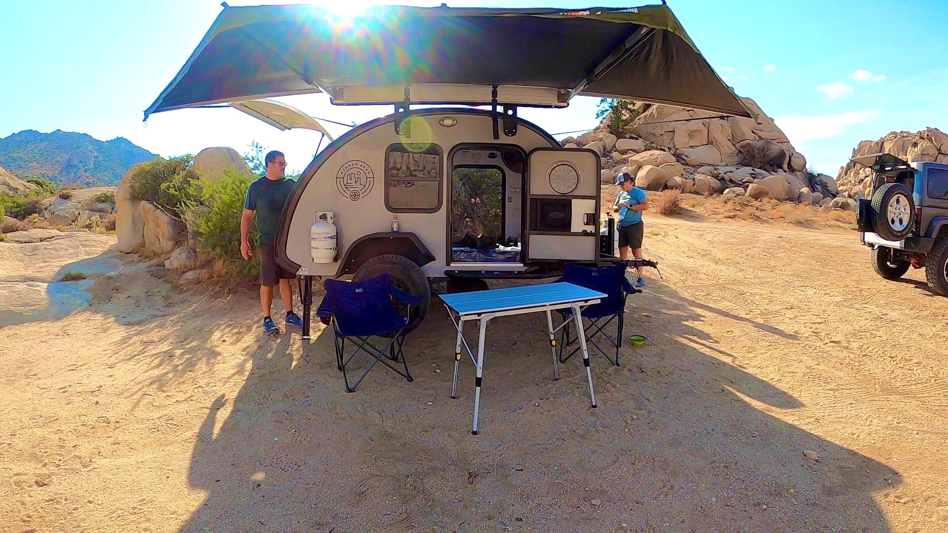 Campsite set up! It comes with an awning to give you a shaded area for eating or just hanging out.. Bean Trailer Meaner Bean 2020