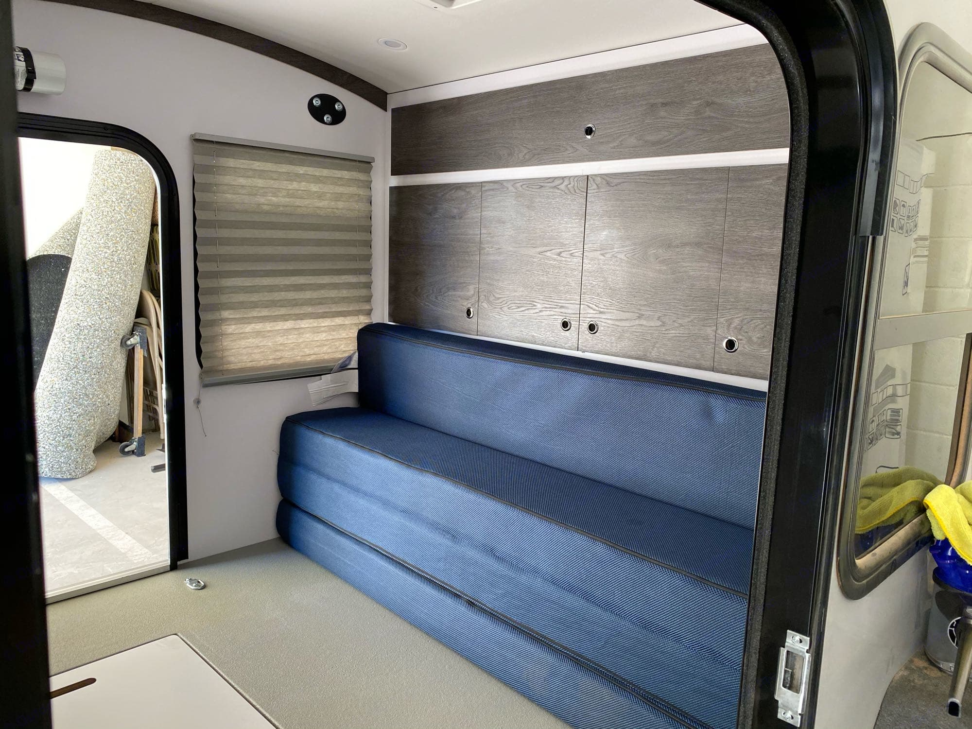 The mattress can fold up into a couch so you can sit inside if its cold or rainy.. Bean Trailer Meaner Bean 2020
