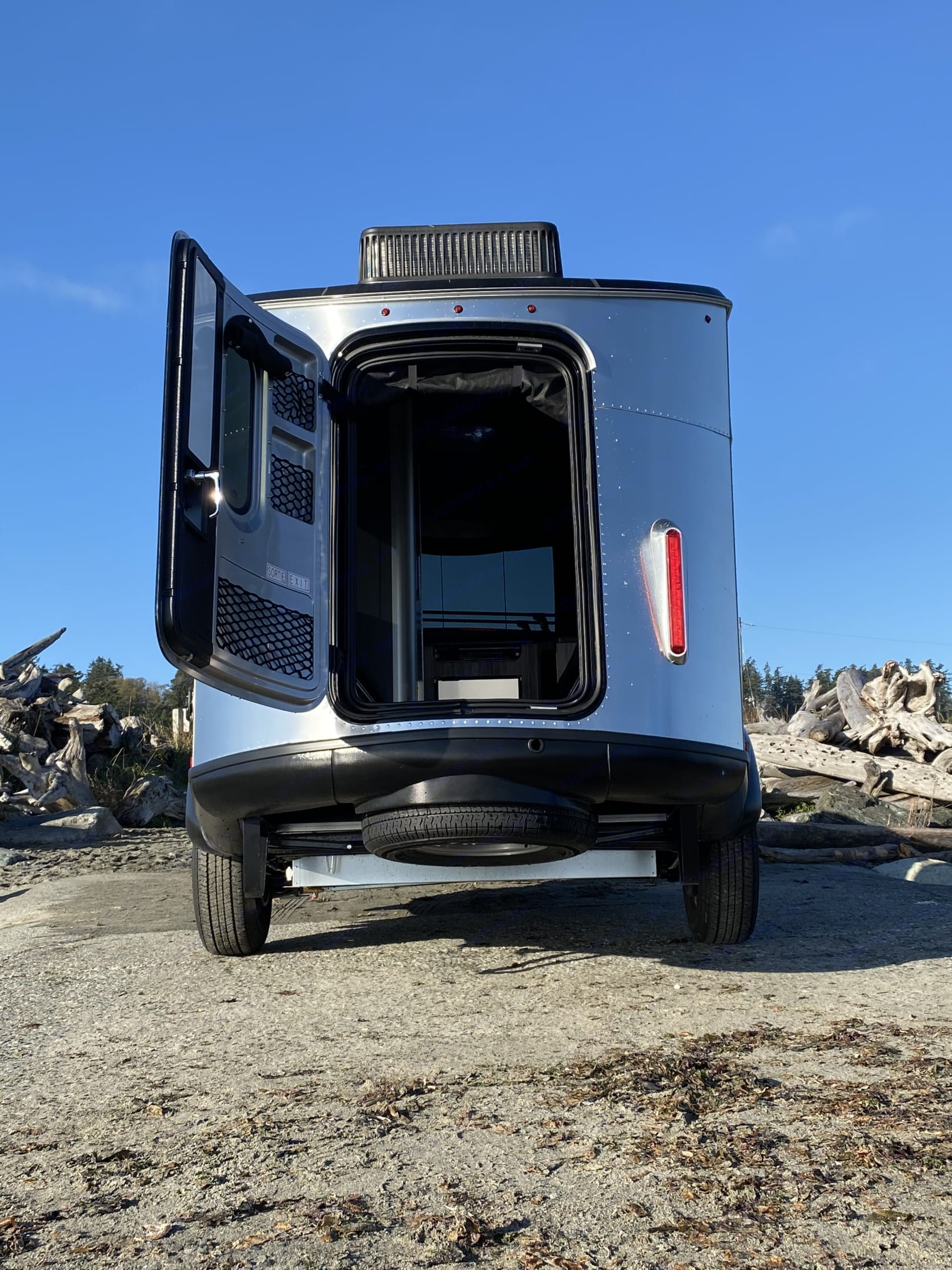 Rear cargo hatch for loading gear!. Airstream Base Camp 2021
