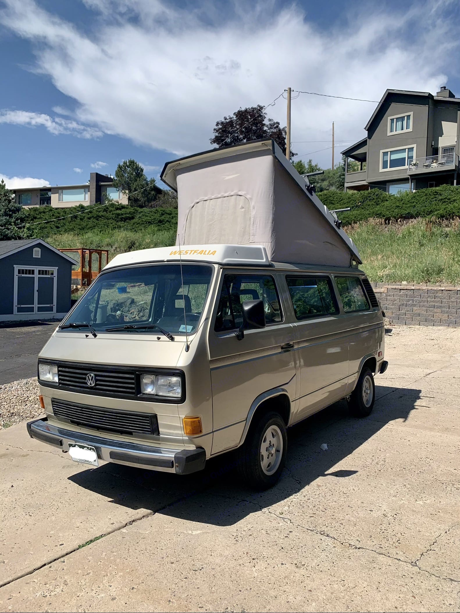 exterior (front) with popped camper top. Volkswagen Westfalia 1987