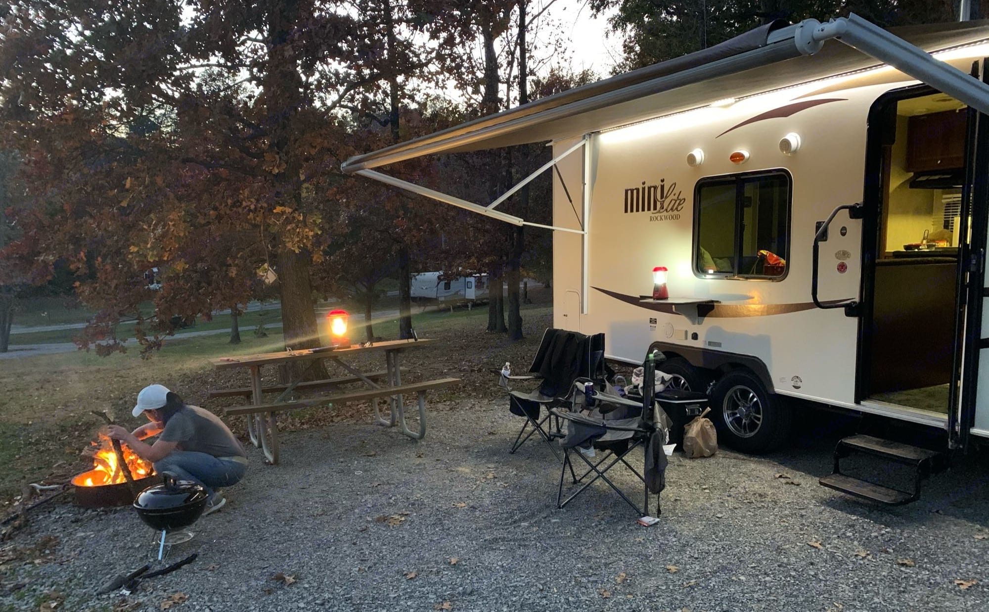 Enjoy being outside the camper with the awning, lights and music/speakers.. Forest River Rockwood Mini Lite 2015