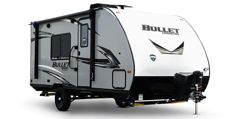 This 21.4 ft unit has plenty of outside storage from one end to the other across the front and one rear storage space. It also has an outdoor shower. . Keystone Bullet 2020