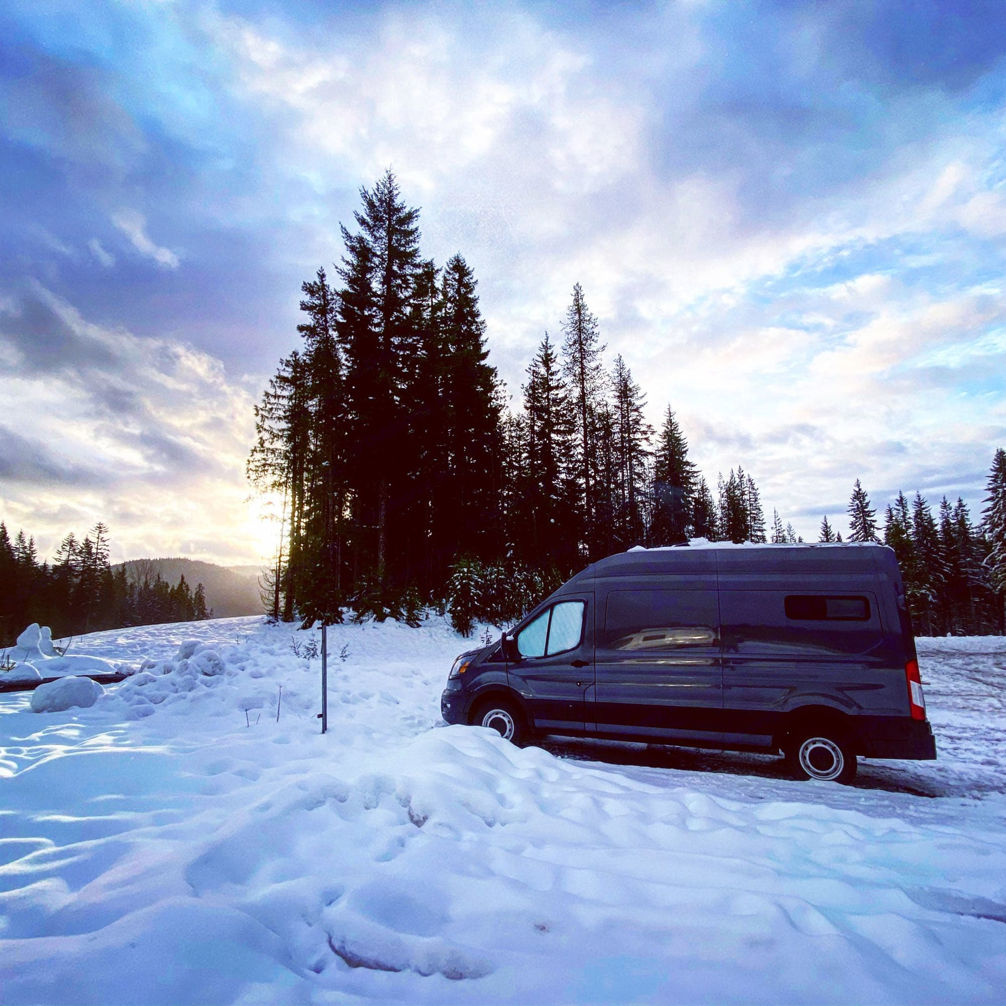 Snow camping is warm and cozy. Willow is great with driving in the snow!. Ford Transit 2020