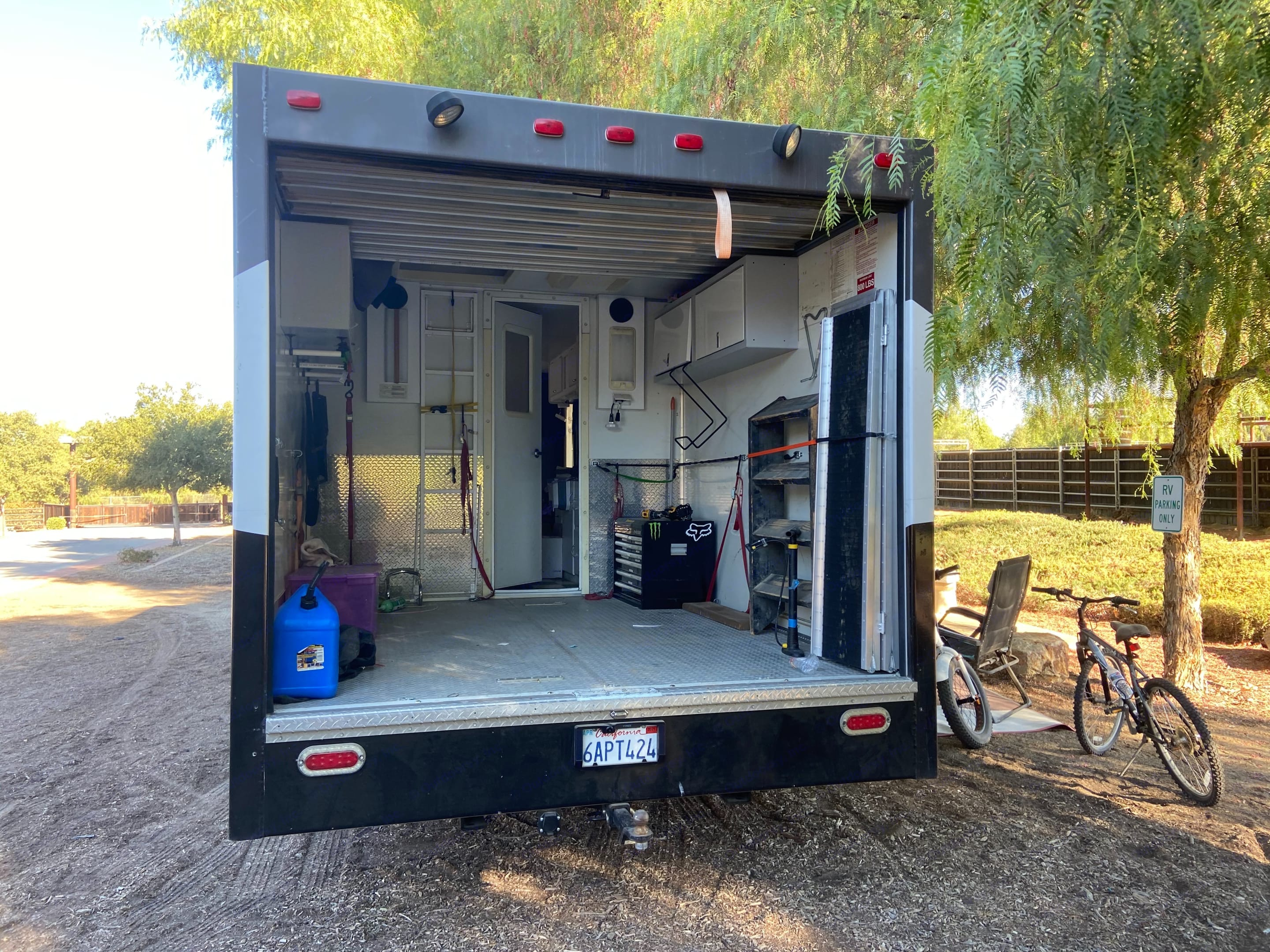 8' wide and 9' depth. Thor Motor Coach Four Winds Fun Mover 2004