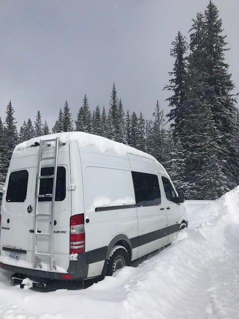 Out playing in the snow.  The BossLady handles great with all-terrain tires and good clearance. Mercedes-Benz Sprinter 2011