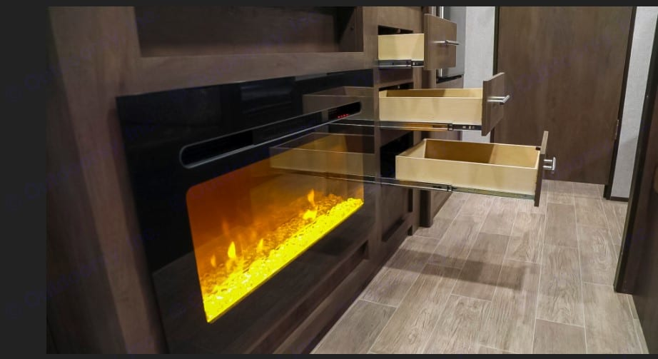The extra warm fireplace changes colors, too!. Dutchmen Coleman 2020