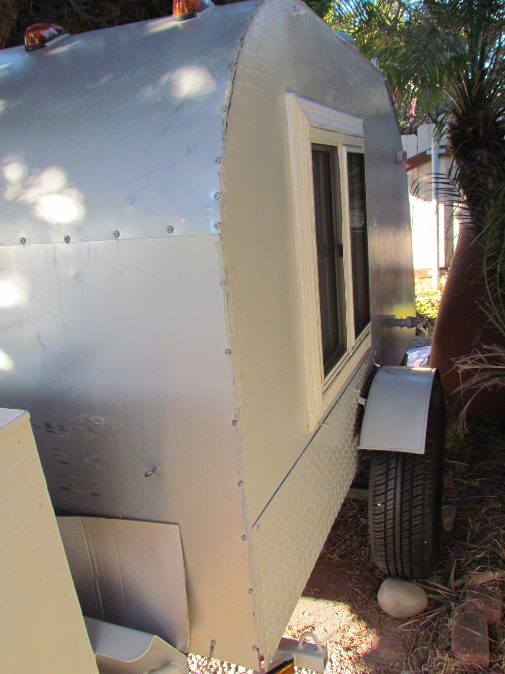window on driver's side. custom-built teardrop 1971 Tacom platform 2019