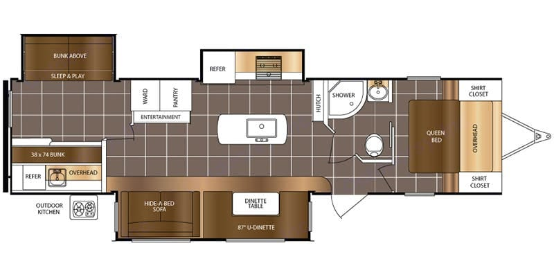 Bunk house sleeps 4 Pullout sofa and dinette conversion in living room for 3 Queen bed in Master Bedroom. Prime Time Lacrosse 2017