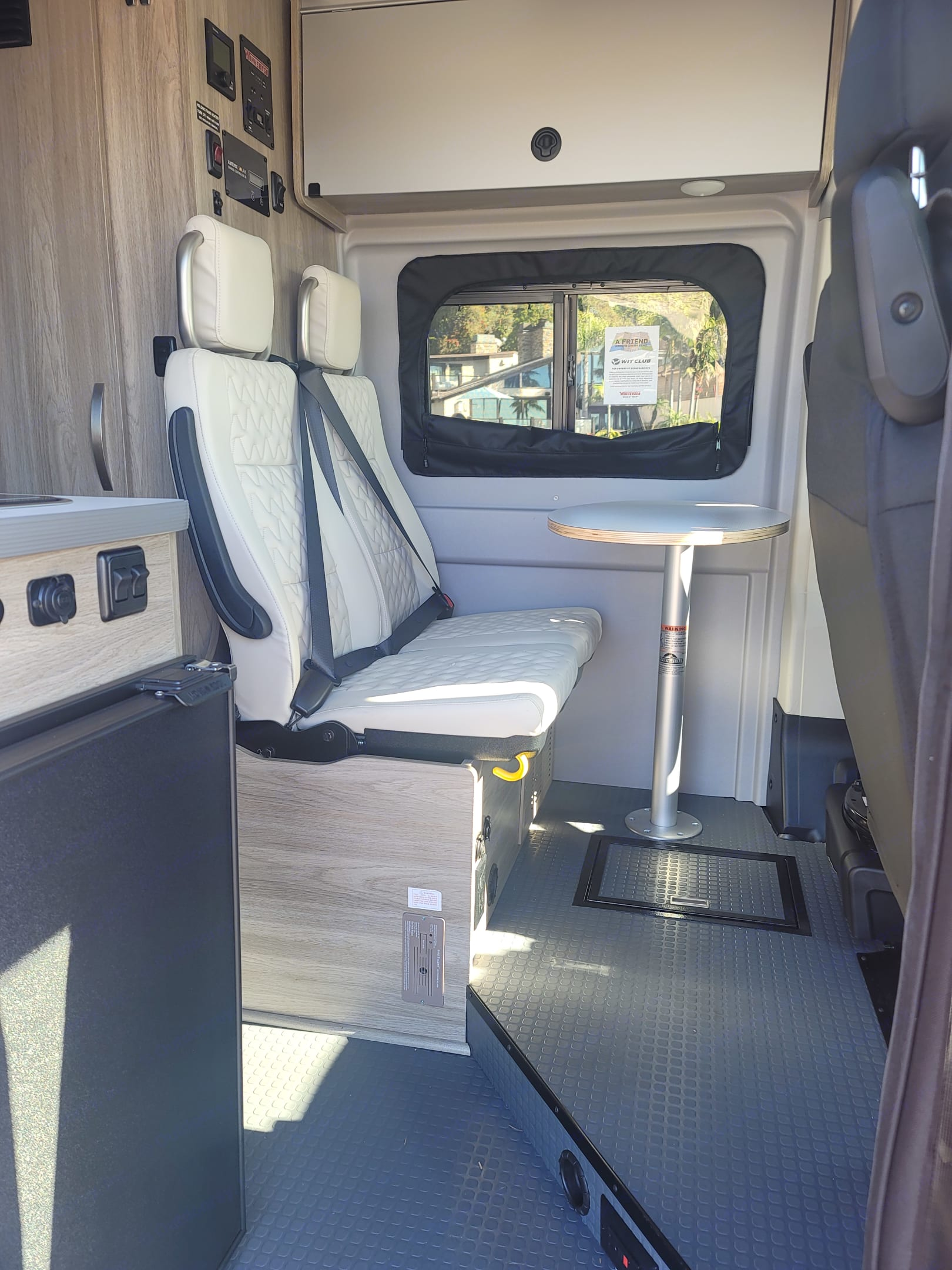 Passengers travel safely with two 3-point harness belts.. Winnebago Solis PX 2021