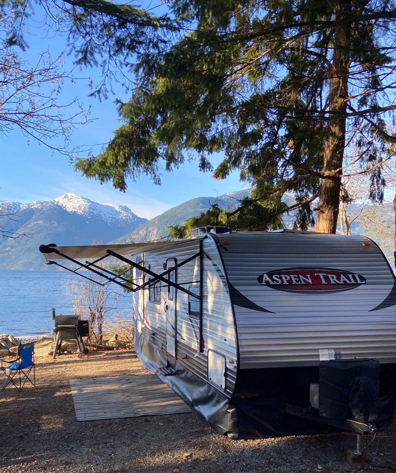 This photo was taken at the poretau cove camp site near Squamish BC. Dutchmen Aspen Trail 2015