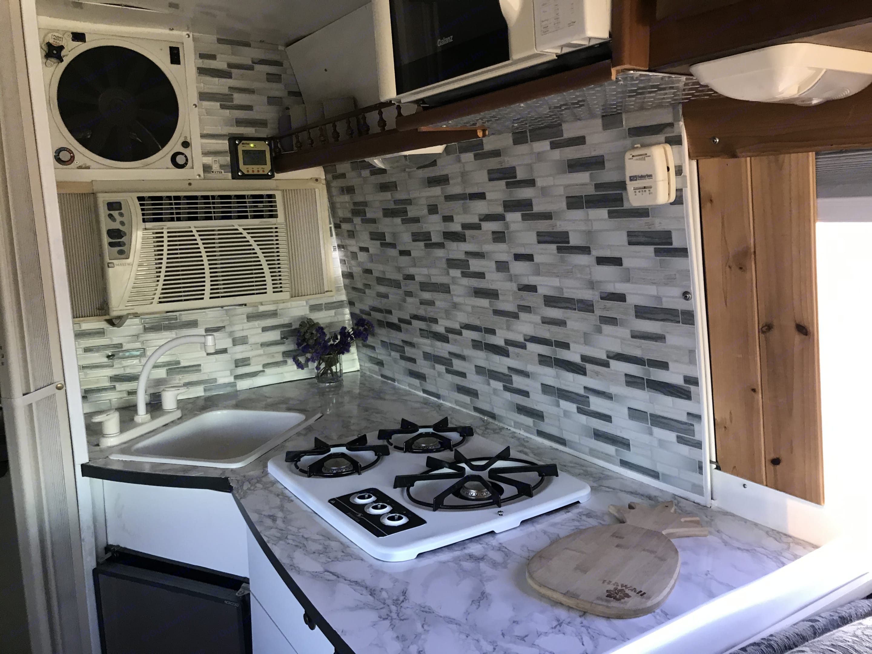 Sink, stove/range, fridge. Fan and AC on the back wall.. Mercedes-Benz Sprinter 2005