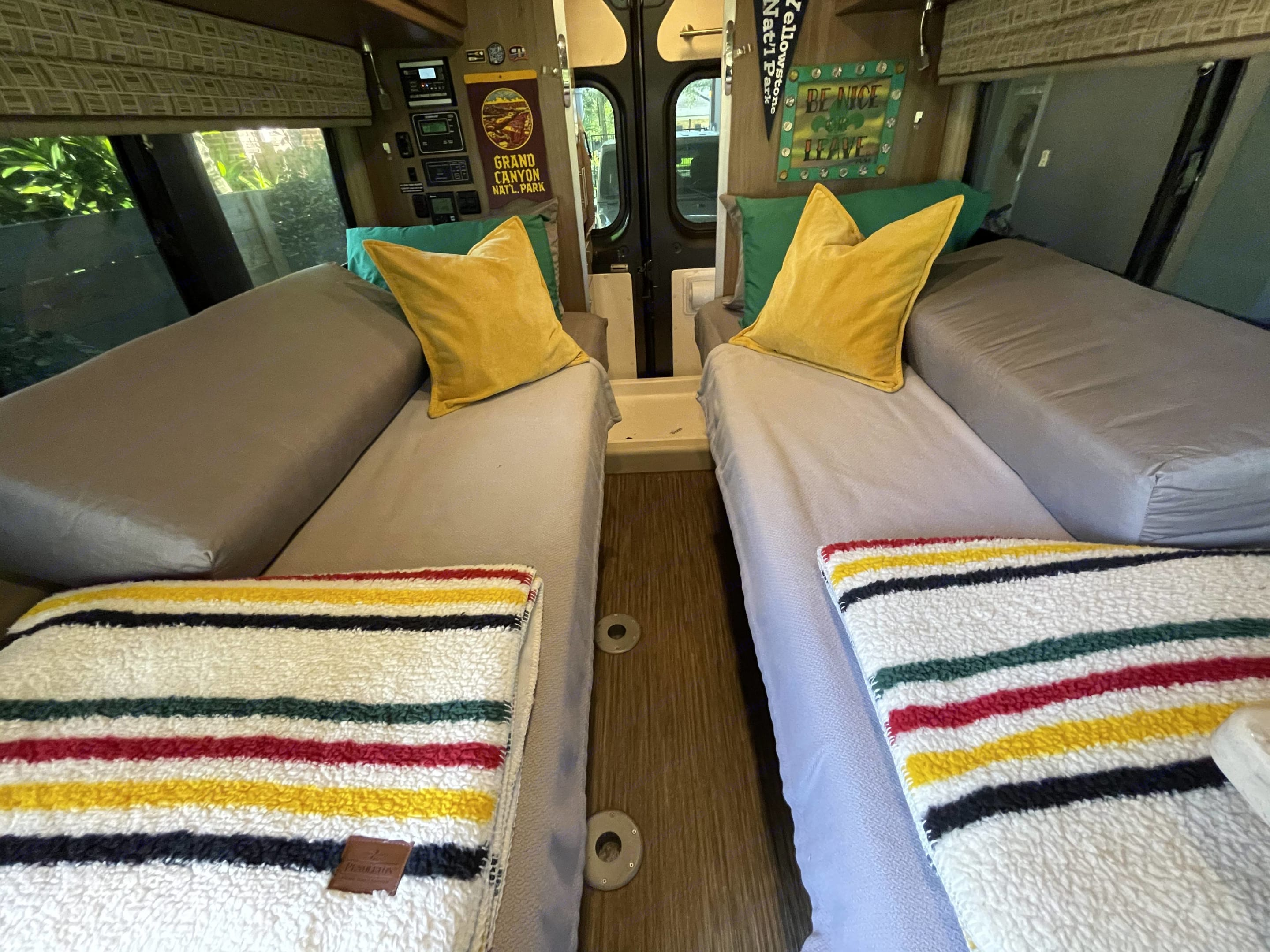 Move bolsters to center for a king size bed!. Winnebago Travato 2017