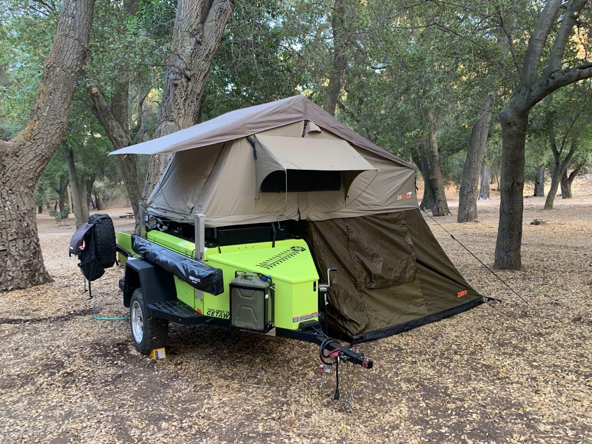 Awning not deployed but annex installed. Turtleback Getaway 2019