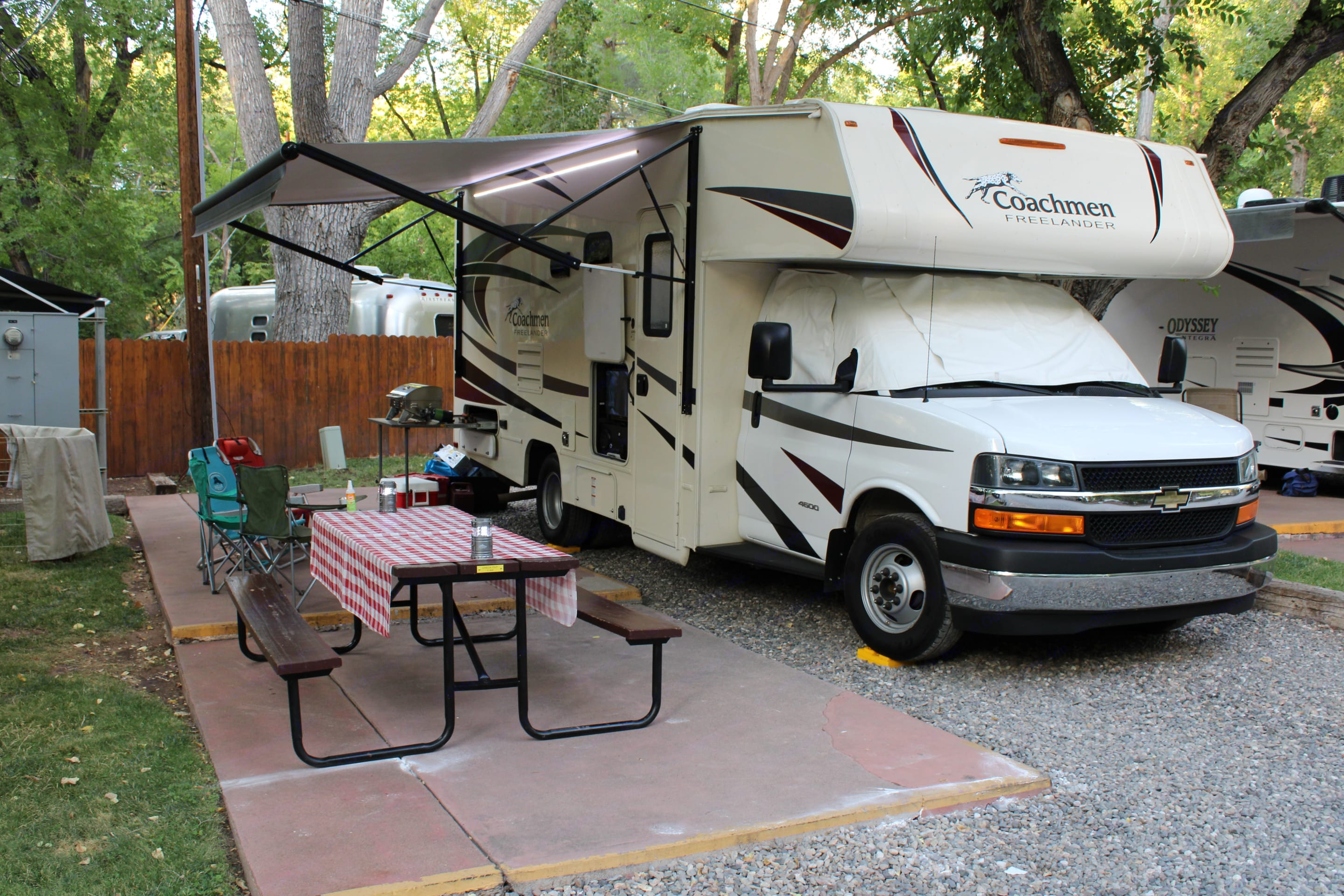 Electrical awning with led lights. . Coachmen Freelander 2019