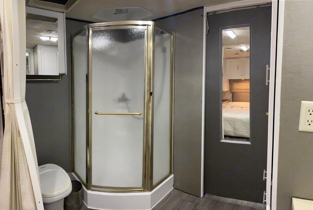 Custom wall new shower paint . Jayco Greyhawk 2002