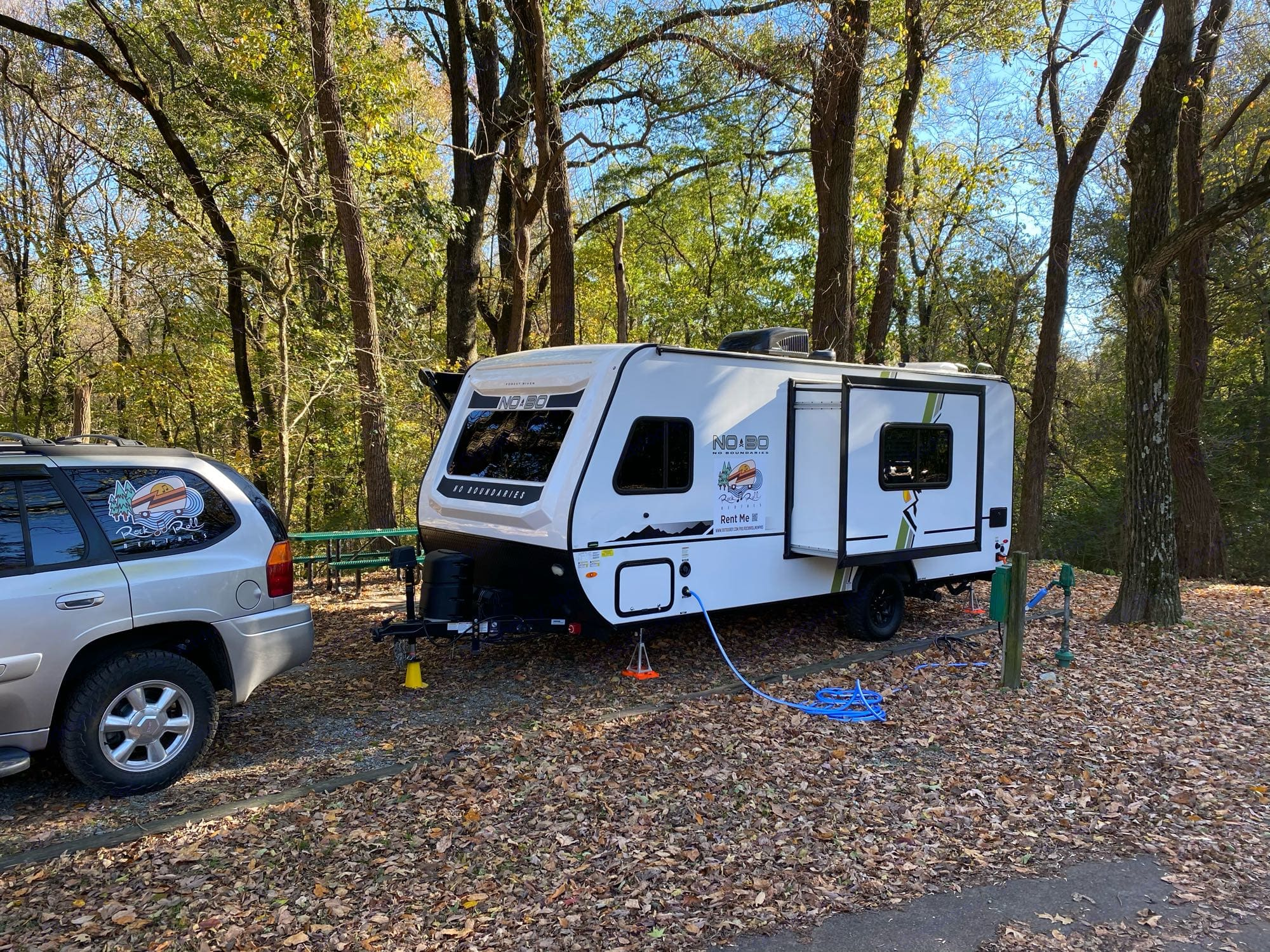 Lucille set up at TO Fuller campground in Memphis. Forest River No Boundaries 19.5 2021