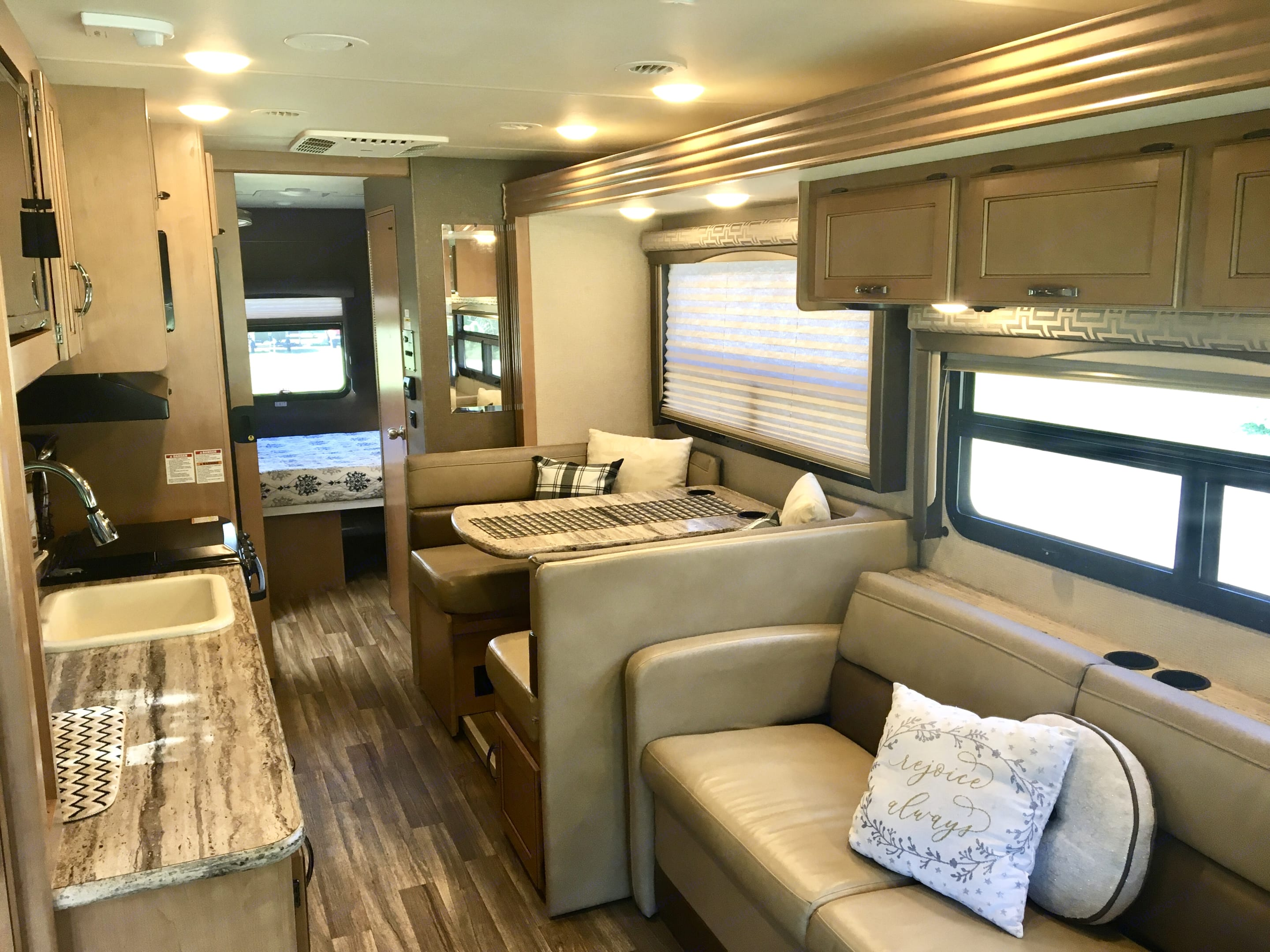 When traveling (and slides retracted), there is still plenty of space to allow access to all the amenities of our RV.. Thor Motor Coach A.C.E 2017