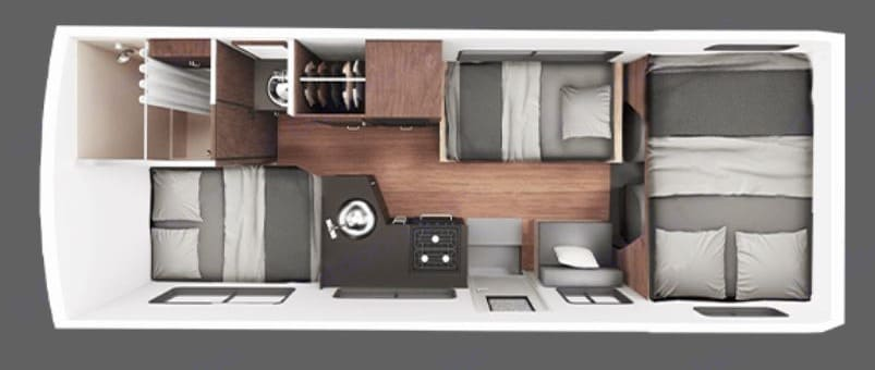 Floorplan for night - two larger beds at rear and in loft, and dinette converts to a three-quarter.  . Thor Motor Coach Four Winds Majestic 2016