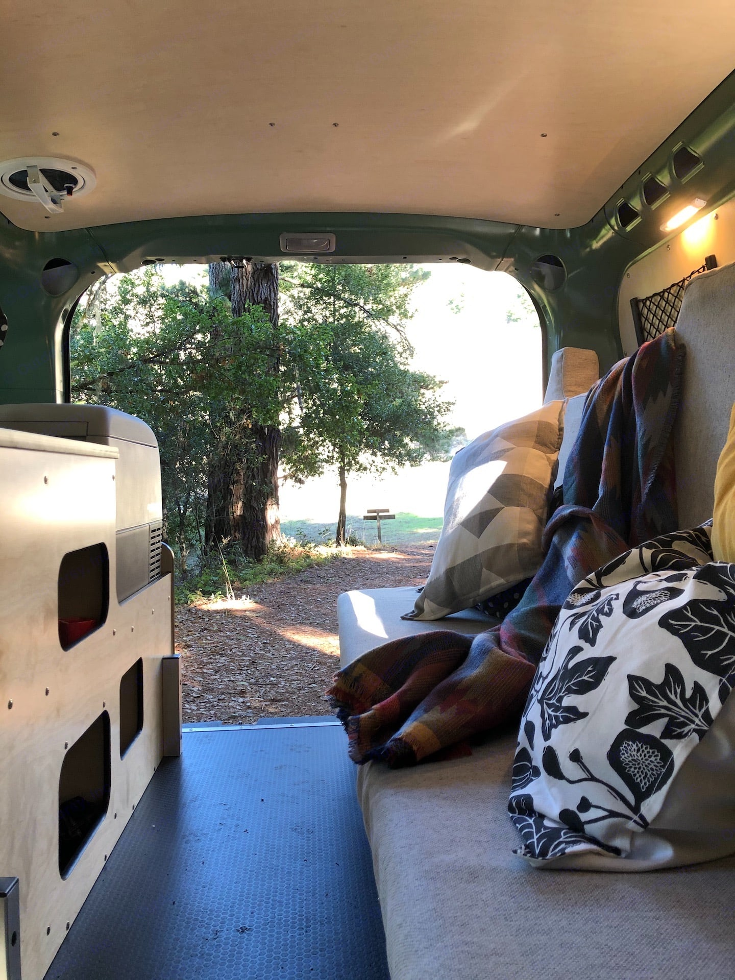 Bed folds into a bench during the day.  In addition the storage under the bench, there are cubbies under the counter for storage.. Ram ProMaster City 2019