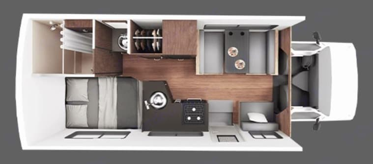 Floorplan for daytime and travel - plenty of space and comfort. Thor Motor Coach Four Winds Majestic 2016