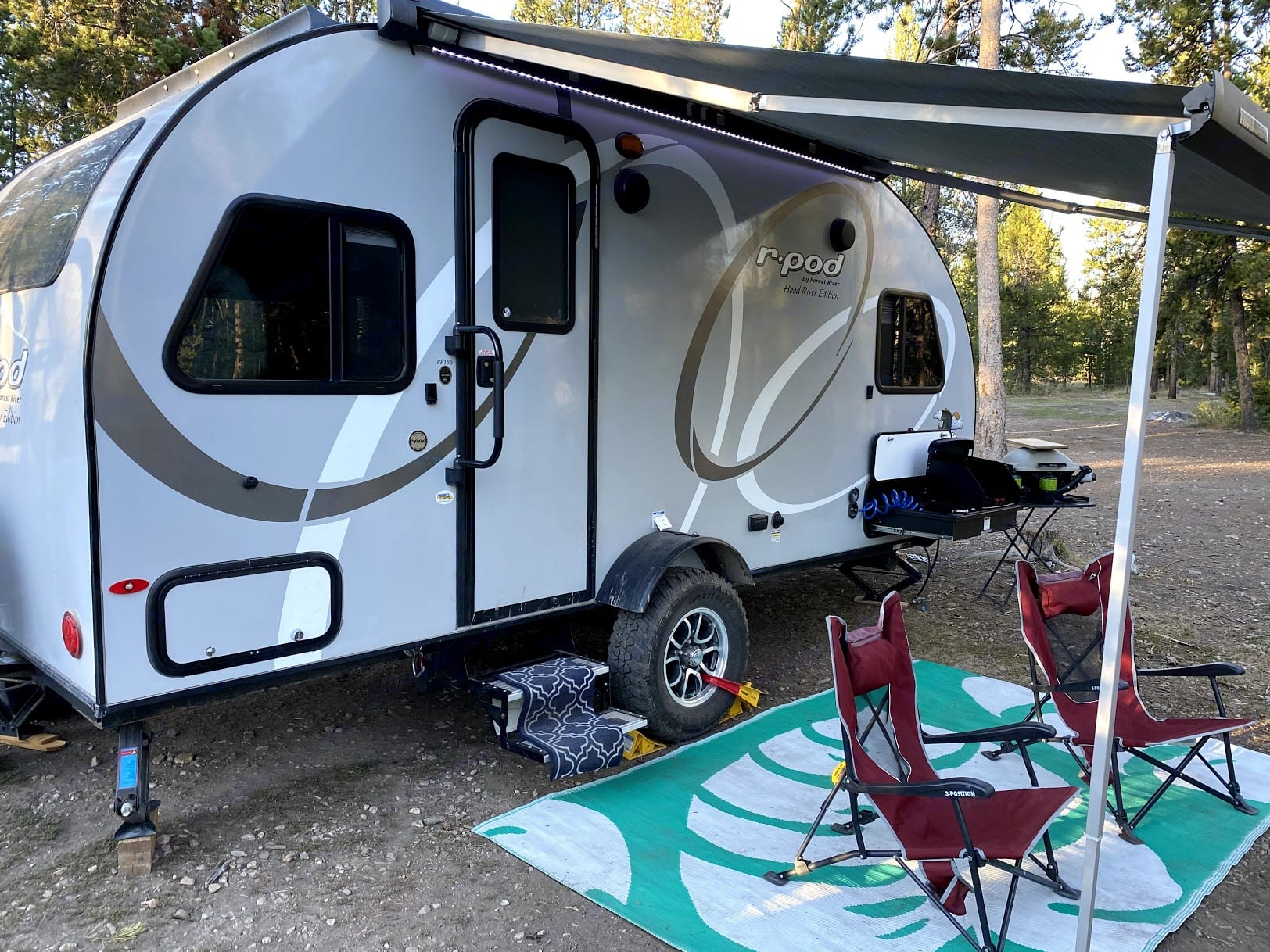 Camping chairs and patio mat included. Forest River R-Pod 2020
