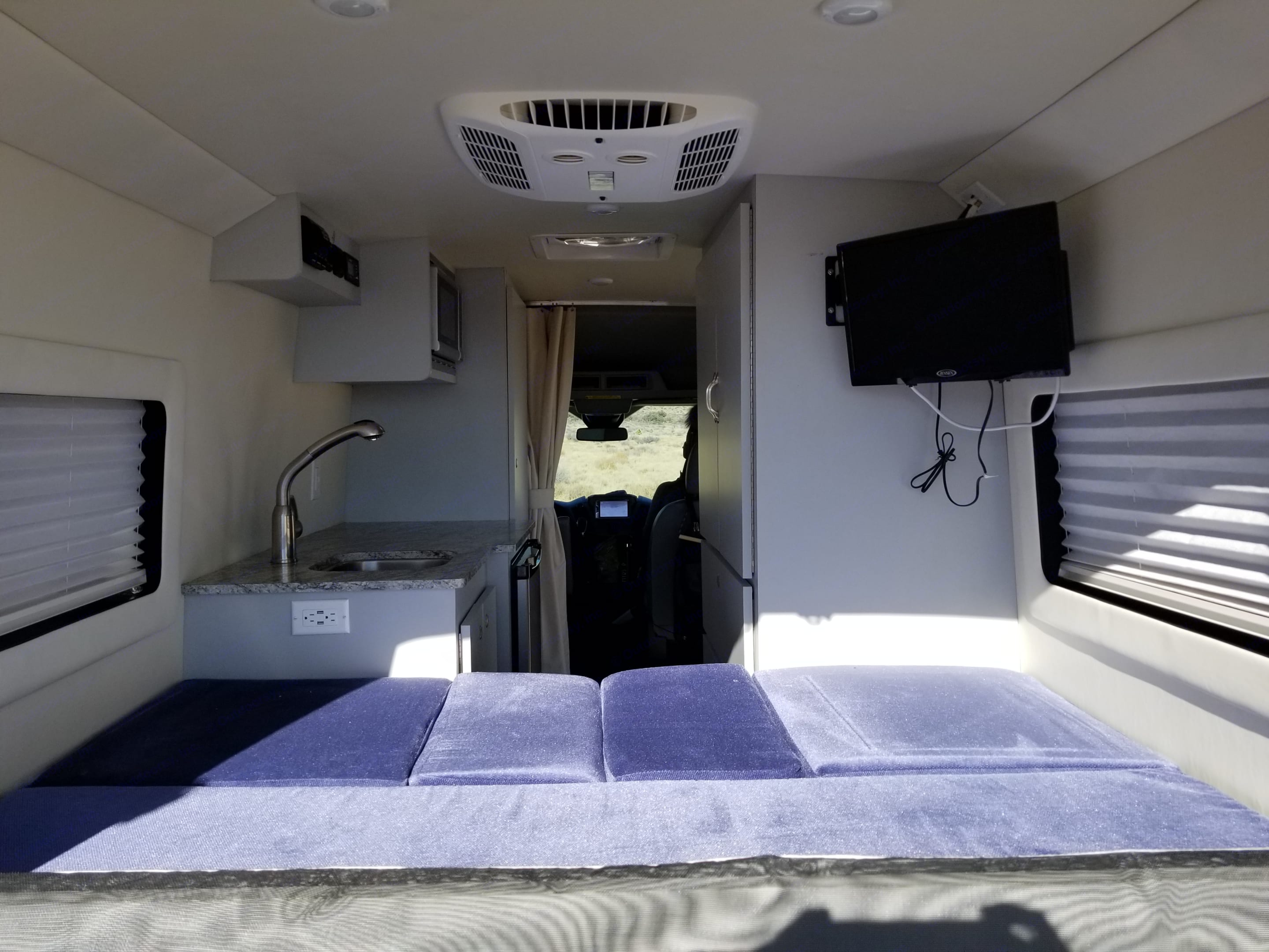 Convert the couch/dinette into a bed within a minute. Ford Transit 2018