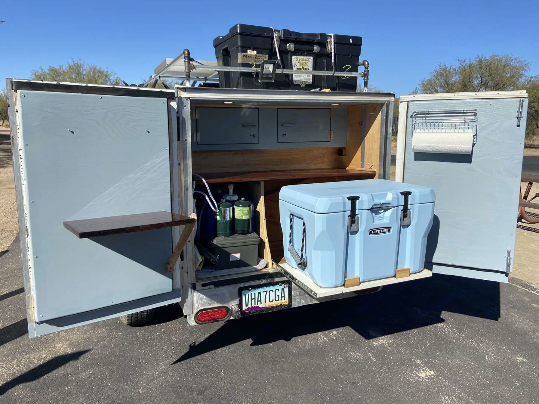 Back galley with slideout cooler with main and drop down counters. . Custom Teardrop Trailer 2020