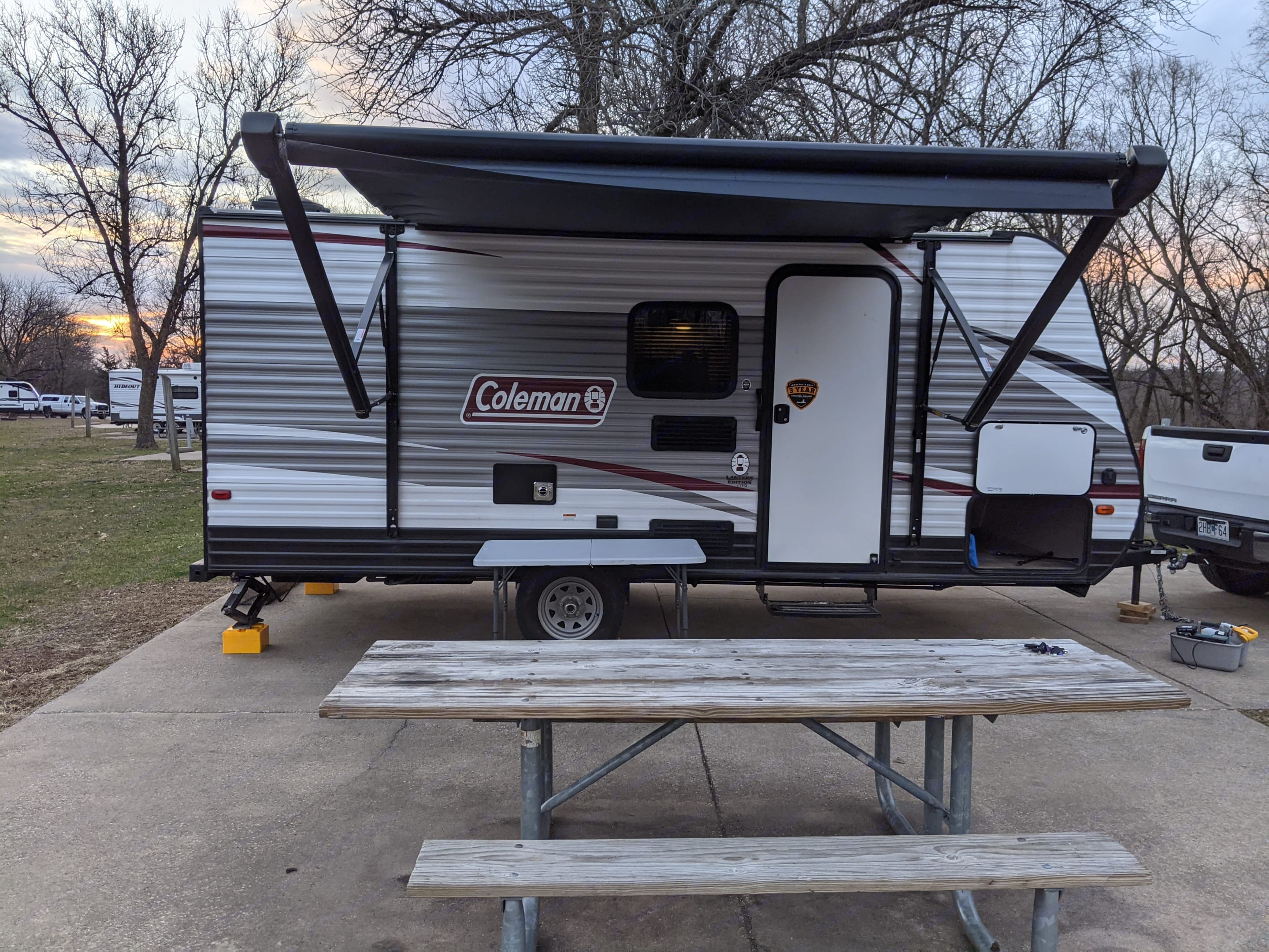 The motorized awning is wonderful for those rainy mornings, or hot afternoons. Provides a perfect space to set up an outdoor cooking station!. Dutchmen Coleman Lantern 17FQ 2020