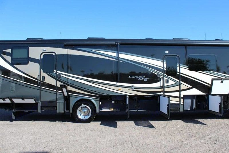 Plenty of storage underneath. Exterior TV for watching outside.. Newmar Canyon Star 2020