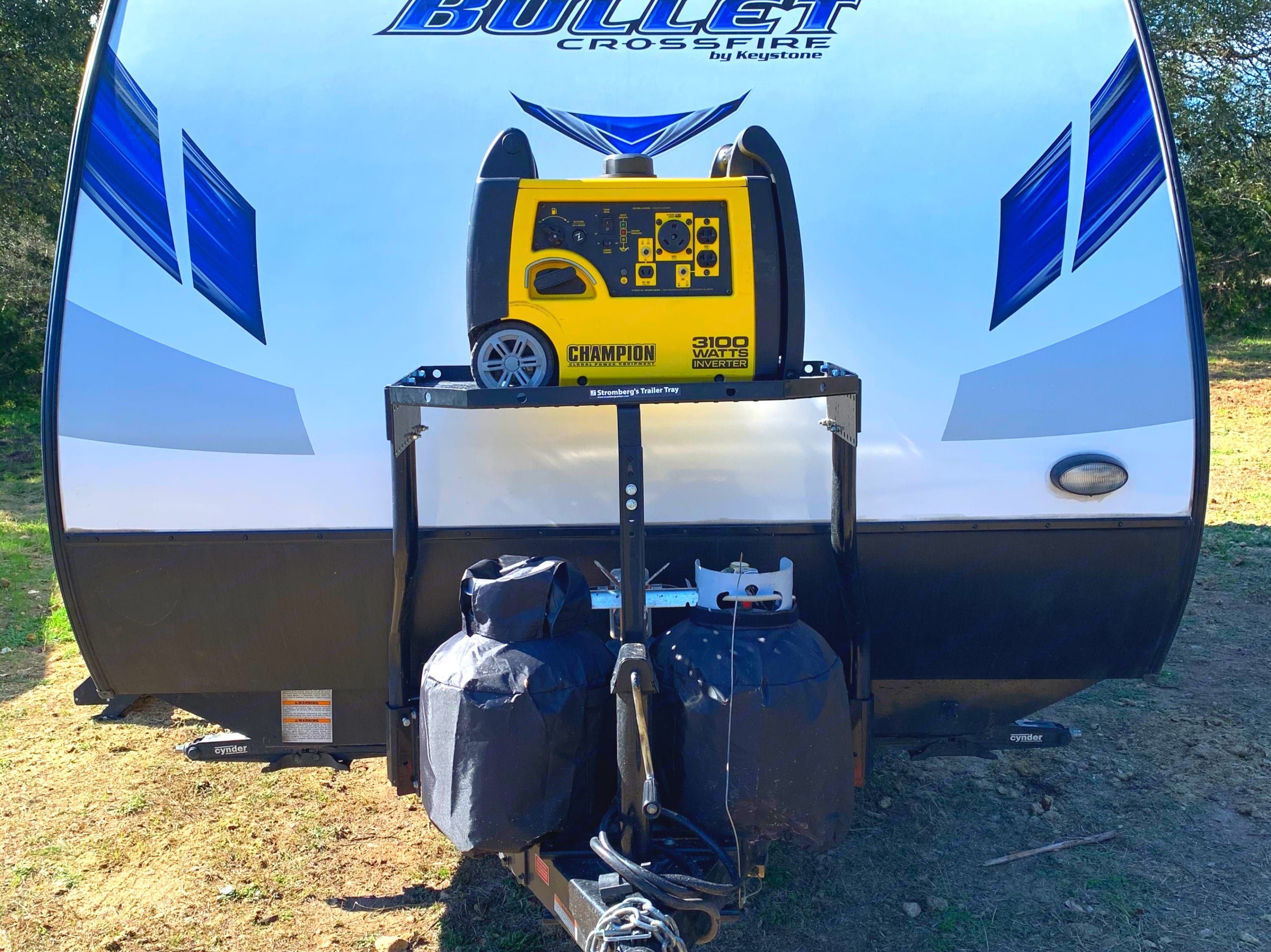 This shows the additional storage on top of the tongue of the trailer for generators, ice chests, or anything you can think of!. Keystone Bullet 2019