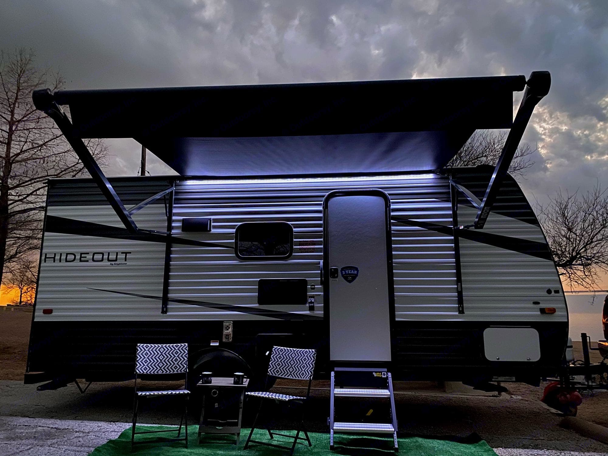 LED light bar under awning lights up for evening entertainment.. Keystone Hideout 2021