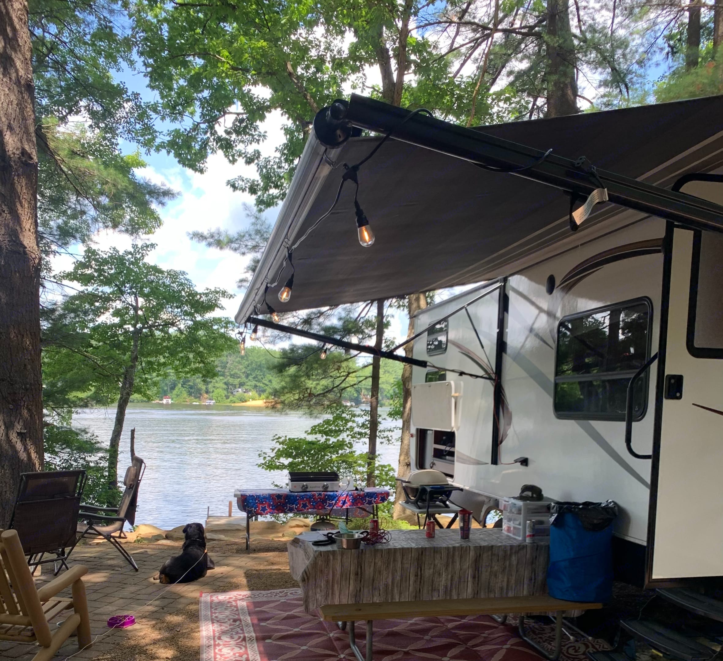This was taken at Pine Acres, one of our favorite campgrounds in Oakham, MA. This premium site is right on beautiful Dean Pond!. Keystone Other 2013