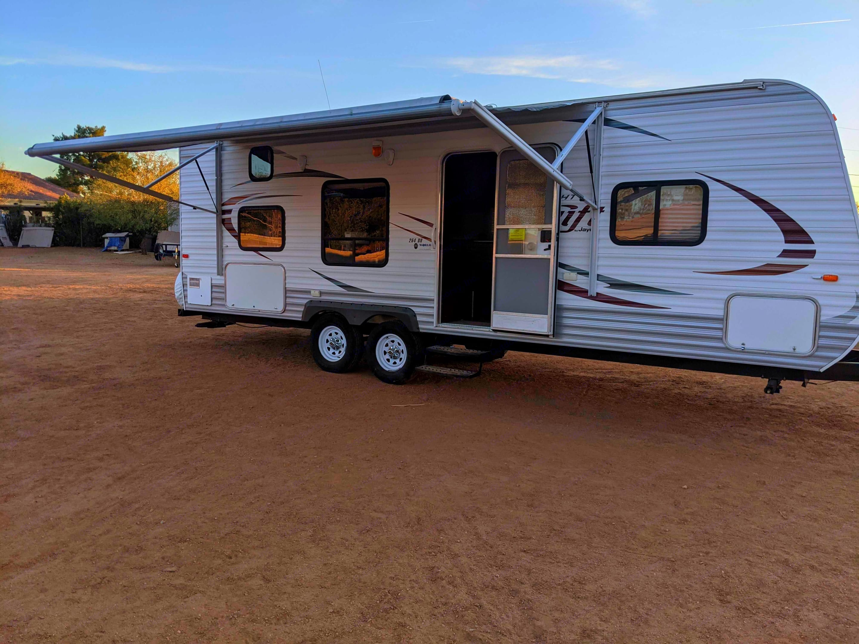 With the press of a button, the awning goes in and out!. Jayco Jay Flight Swift 2014