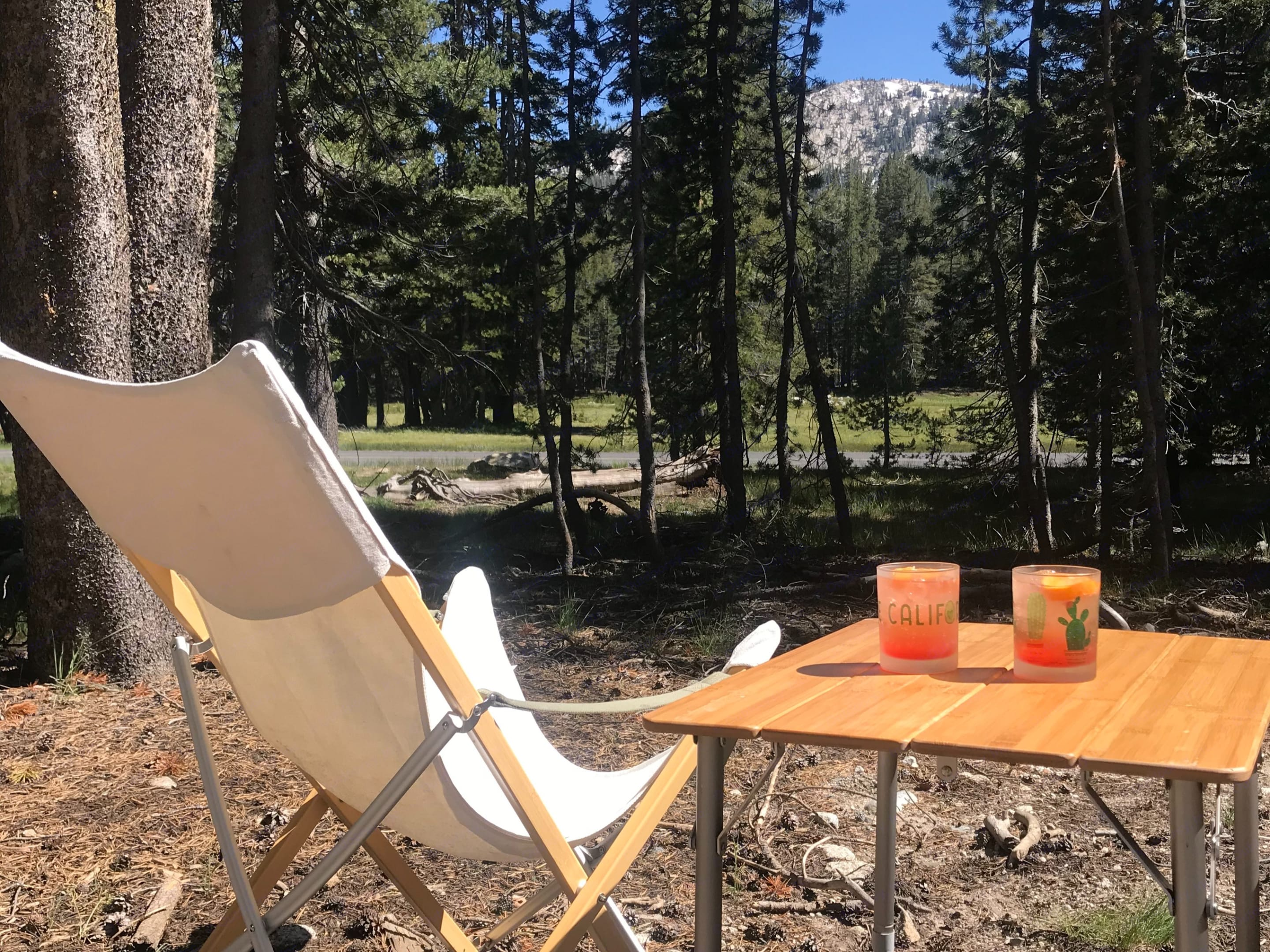 Relaxing outside of the Airstream after a long day of climbing in Tuolumne with Campari spritz.. Airstream Sport 2016