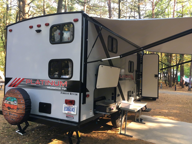 Outdoor shower & outdoor kitchen. Forest River Wildwood 2021