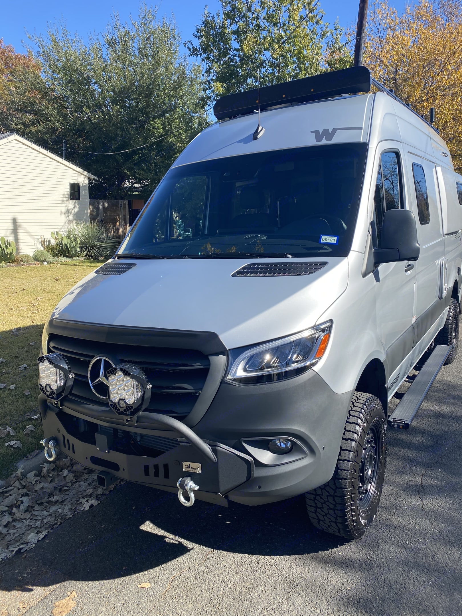 Baja lights when its very dark coming into a camp site. Mercedes-Benz Sprinter 2021