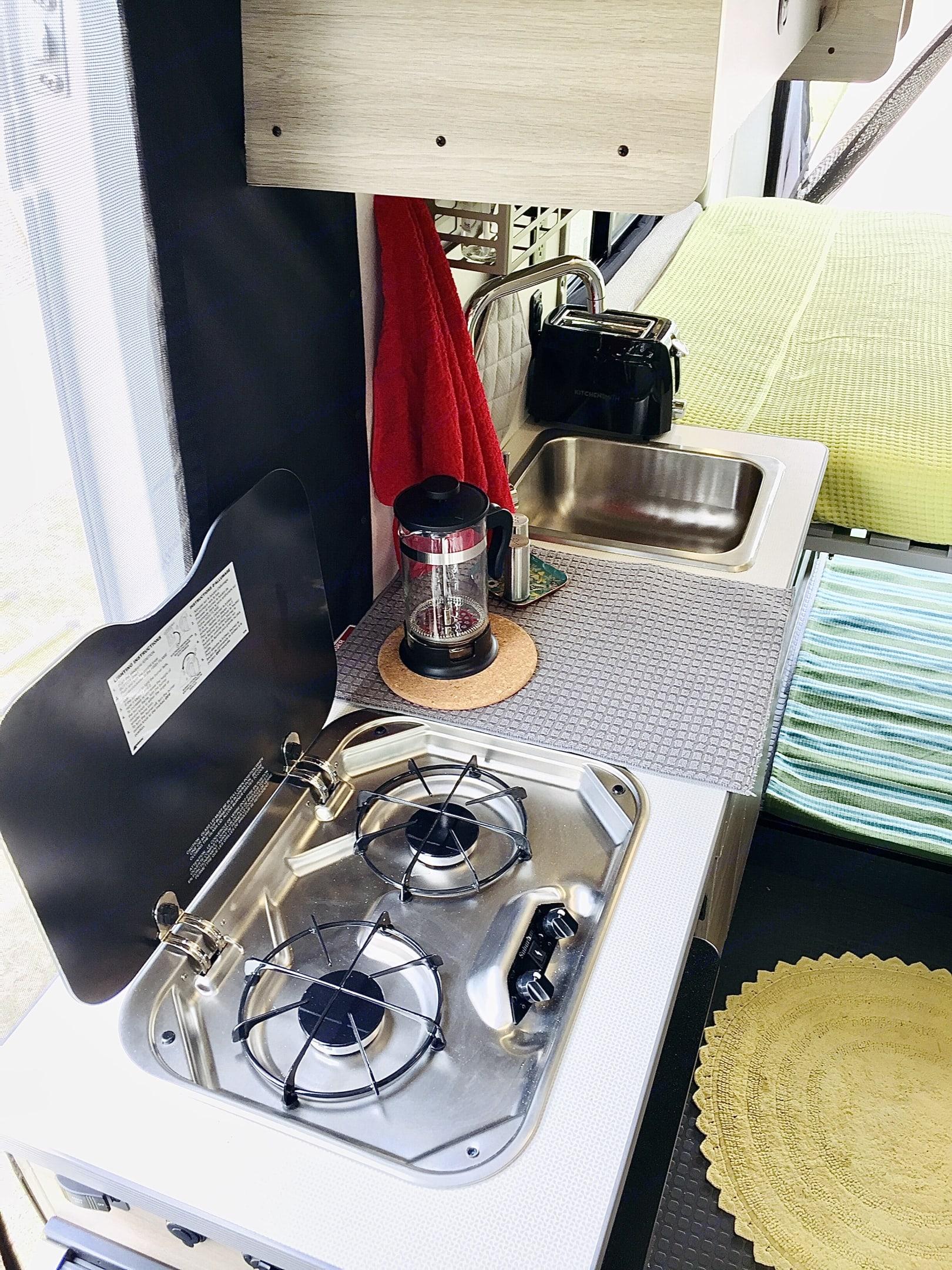 2 burner gas stove. Winnebago Solis 2021