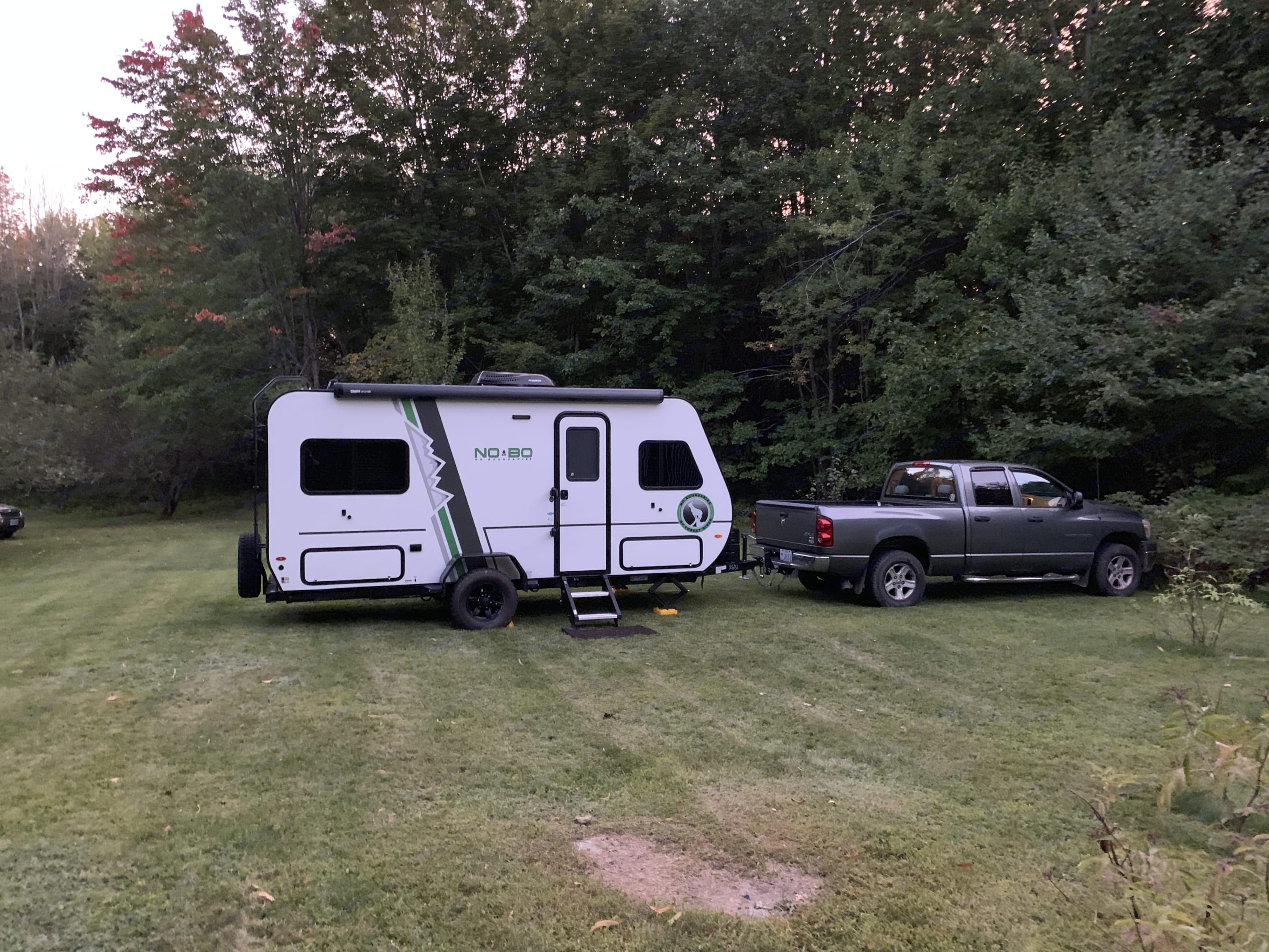 Towed by a 2007 1500 Dodge Ram. Forest River NoBo 16.5 2019