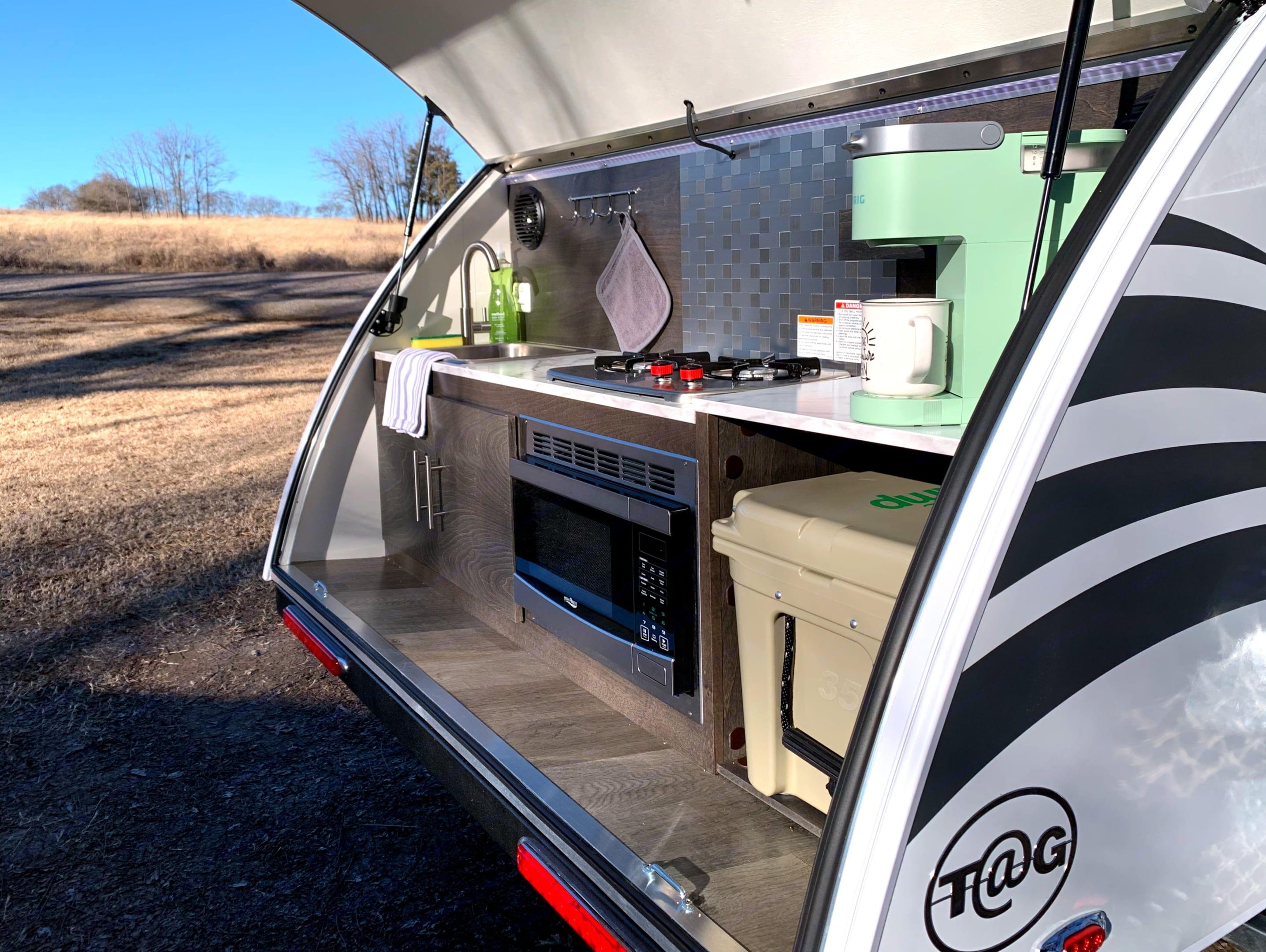Sink, 2 Burner Stove, Keurig Coffeemaker, Microwave, Yeti Cooler and lighting!. American Teardrop TRL 2021